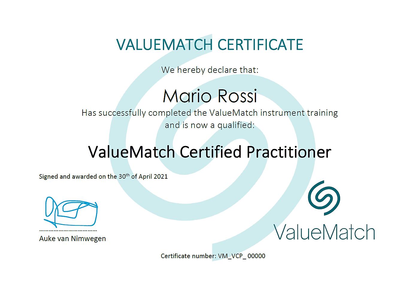 ValueMatch Practitioner Certificazione